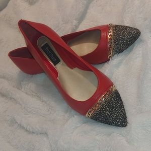WHBM Red with Feather and Chain Flats